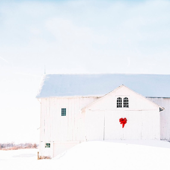 Winter Landscape, Photo, Country Home, Holiday Barn, Nature photography, print, snow, winter, White Barn, country, rustic