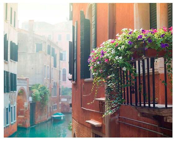 Venice Photography, Venice Canal Print,  Italy Print, Travel Wall Art, Home Decor. Flowered Balcony Photo