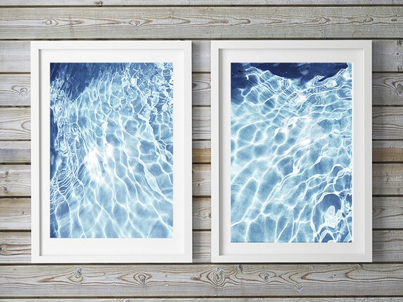 Beach Print Set, Water, Abstract Beach Photos, Beach Home Art, Coastal Wall Decor, Blue and White Water Art Prints