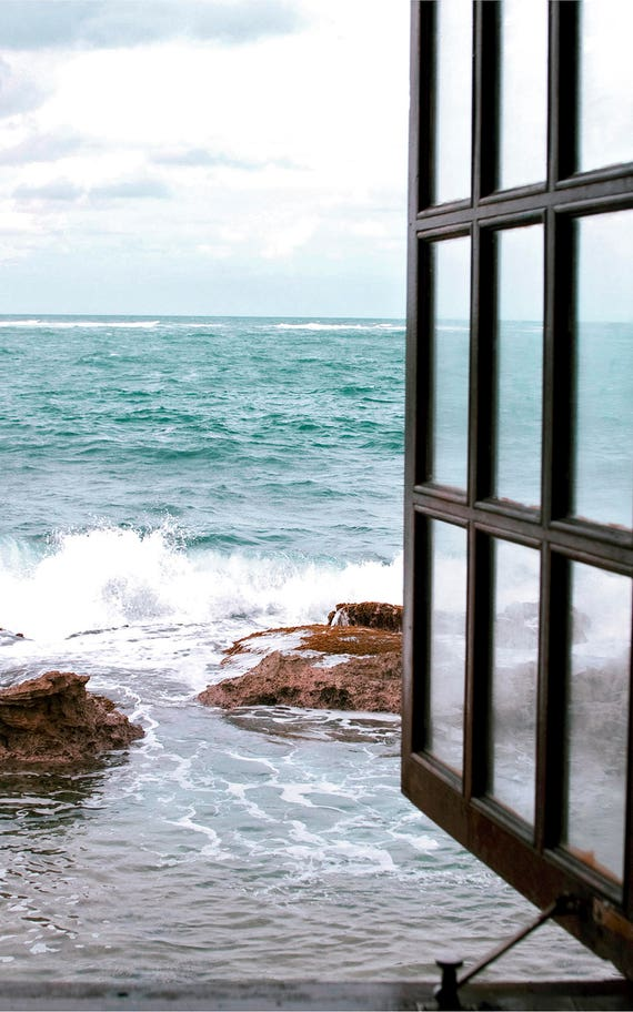 Open Window Photo, Coastal Photography, Beach Home Wall Decor, Nautical Print, Turquoise Wall Art,