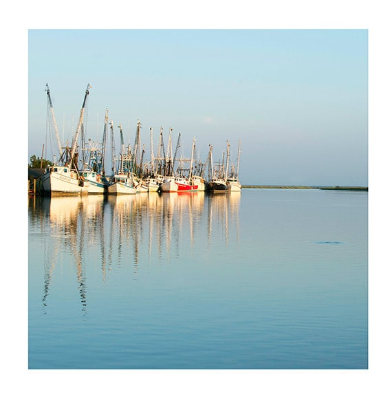Art, Photography, Nature Photography, Boats, Savannah, Teal, Turquoise, Cream, Red, Nautical, Square 5x5 & Larger Print