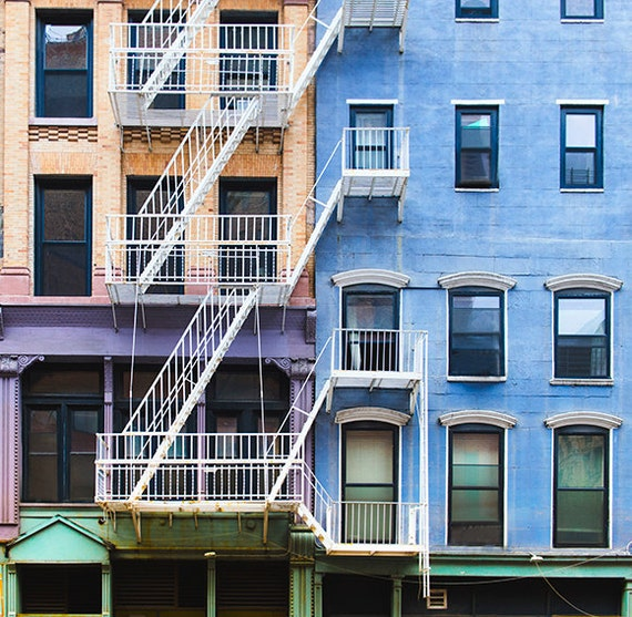 Art, Photography, City, New York City, Street Scene, Colorful City Block, Buildings, Wall Art, Industrial Look, Loft, Home Decor