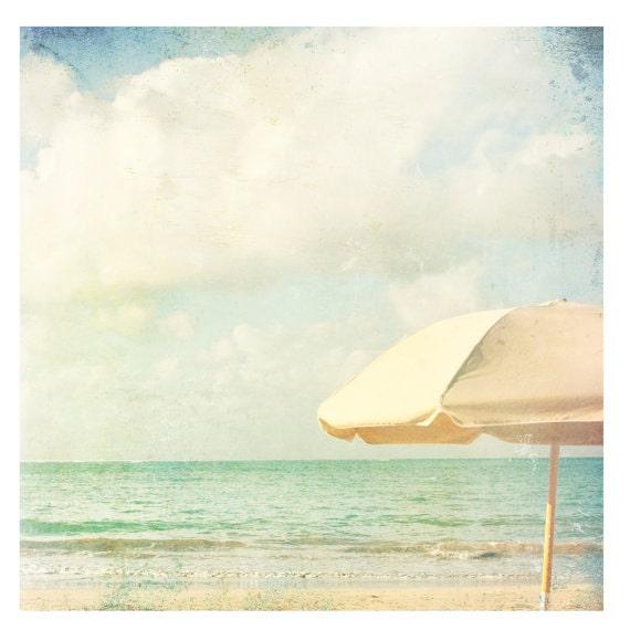 At the Beach, Yellow Umbrella, Photography Print , Coastal, Home Decor, Wall Art, Pastels, Ocean, Cottage, Fine Art Print