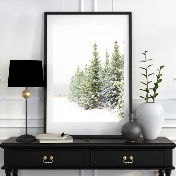 Ready to Ship, Christmas Print, Holiday Decor, Winter Photo, Snowy Pine Trees, Snow Scene, Evergreens, 16x20 inch print, Sale Price