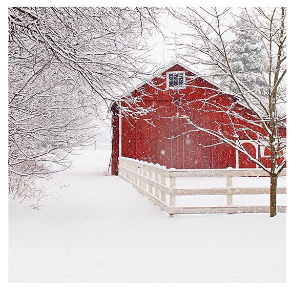 Red Barn In Snow Print, Barn Landscape Photo, Country Home Wall Art, Winter Snow Photography, Rustic Wall Decor, Fixer Upper Style