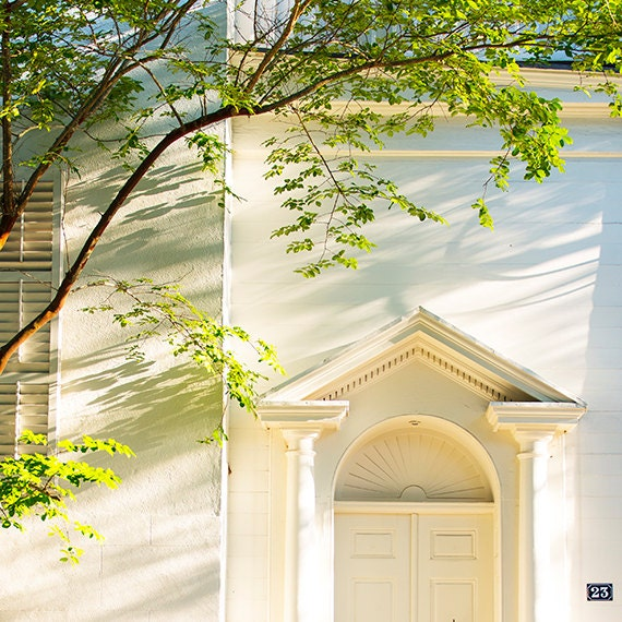 Charleston Photography, Architecture, Home, Greenery, Doorway, Fine Art Home Decor, Ivory, Cottage Print