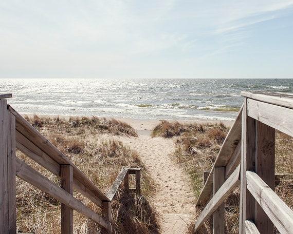 Beach Photography, Coastal Home Decor Print, Ocean Photo, Sand and Waves Print, Nautical Image