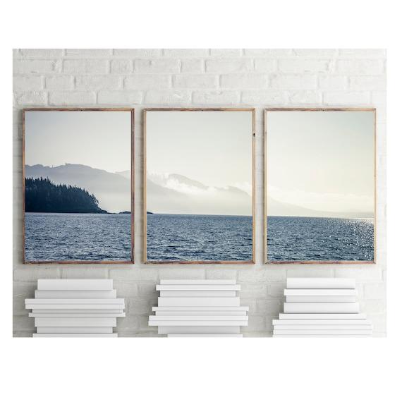 Sea and Clouds Photo Set, Large Wall Art, Pacific Coast Wall Art, Nautical Prints, Coastal Home Decor, Pacific Northwest Prints