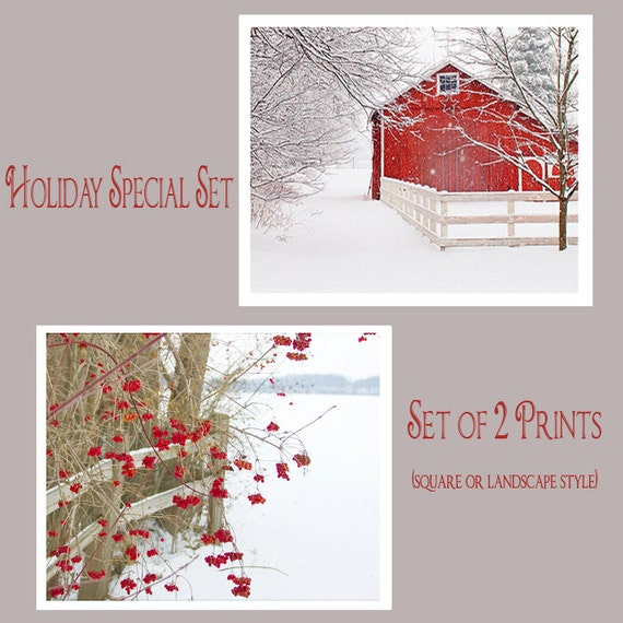 SPECIAL Home for the Holidays, Sale Price, Set of 2, Extra Savings, Landscape Prints, Snow, Winter, red barn, berries, country lane, Set
