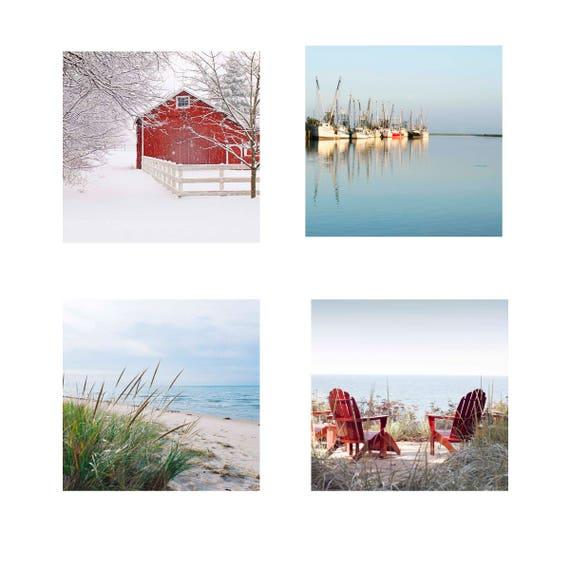 Sale Photos, Four Seasons,  Four Piece Set, Four 12x12 or Four 16x16 Fine Art Photos, Coastal Photos, Wall Art