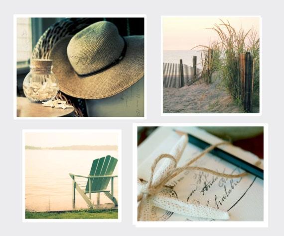 Coastal Print Set, Four Individual Prints, Two 11x14 and Two 12x12 prints, Beach Wall Art, Coastal Home Decor