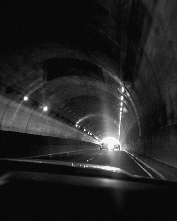 Black and White print, Tunnel, Car, Photograph, Abstract Look Print, Modern Art Print, Wall Decor, Midcentury Modern Decor, Apartment Art