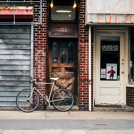 Art, Photography, Bike Image, City Print, Urban Art, Bicycle Print, Home Decor, Loft, Apartment Art, Brown, Gray, Rust Tones