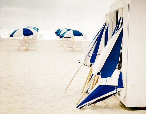 Beach Print, Large Wall Art, Photography by Cindy Taylor, Fine Art Photography, Coastal Home Decor, Indigo, Ivory, Beach Umbrellas