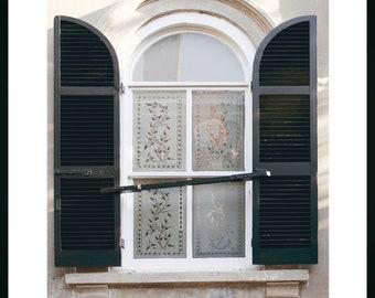 Charleston Window Black Shutters Print, Art Home Decor, Neutral Colors Home Art, Window and Doors Photography