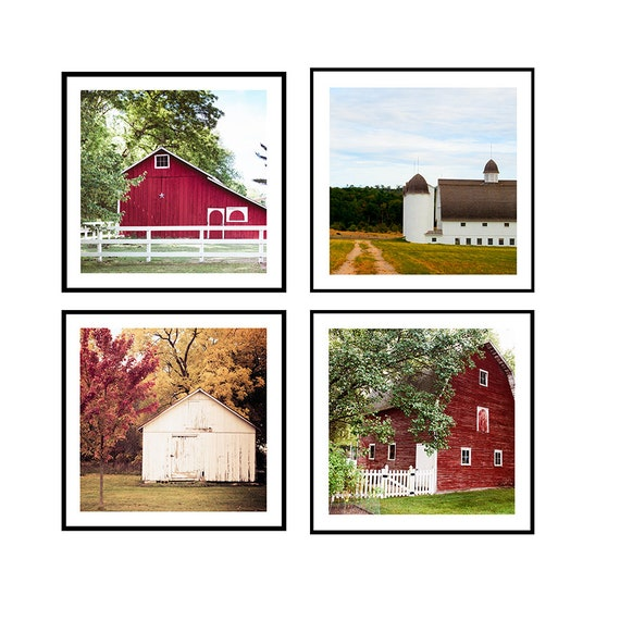 Barn Photo Set, Red barn print, White Barn print, Country Home Decor, Rural Scenes, Country Barn Prints, Fixer Upper Decor