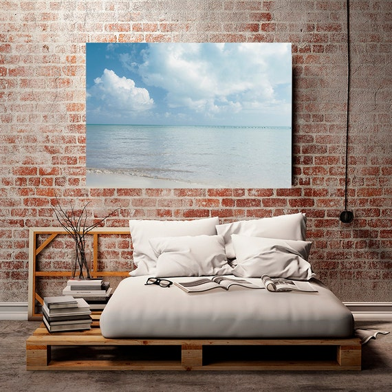 Beach Print,Clouds and Ocean Art, Nautical Decor, Ocean Photography, Landscape Photography, Pale Blue Pastel Wall Decor, Coastal Decor