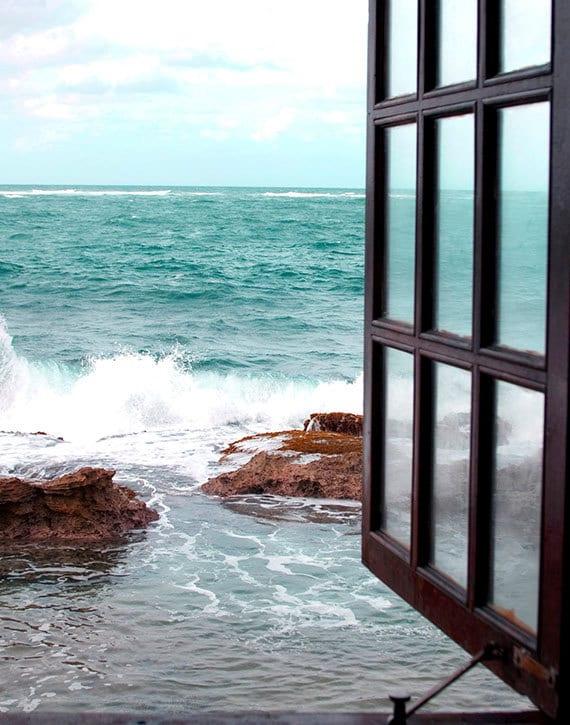 Beach Photography, Nautical Wall Art, Window Photograph, Coastal Home Decor, Turquoise, White Artwork, Large Wall Art