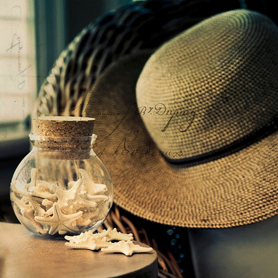 Still life Photography, Art, Photography, Beach Photo, Autumn At The Shore, Summer Straw Hat,Shells, French Script, Teal, Sand, Sunlight