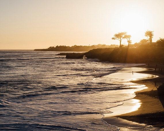 Beach Photography, Coastal Sunset Photo, California Coastline Art, Santa Cruz California Print, Nautical Home Decor, Pacific Ocean Print
