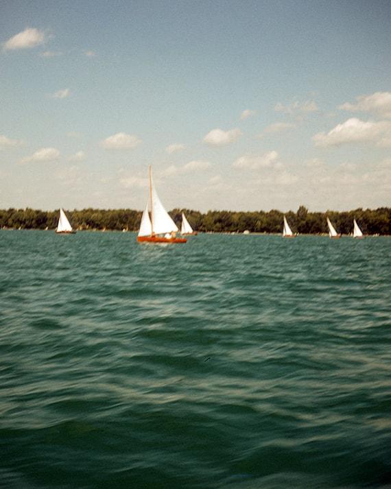 Vintage, Lake Scene, Sailing, Photography Print, 1960's, Kodachrome Colors, Wall Decor, Mid Century Modern, Art Print