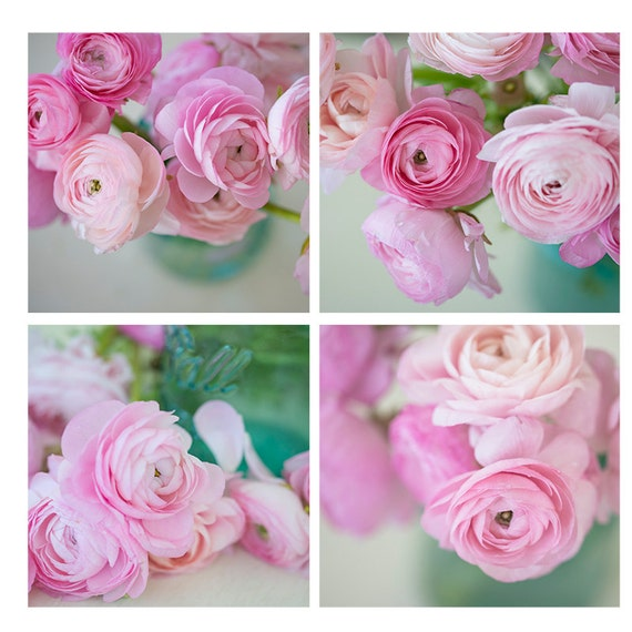 Art, Photography, Sale, Special, Set, Prints, Wall Art,  Four Individual Images, Pink, Flowers, Girls Bedroom Art,  Shabby Chic, Nursery