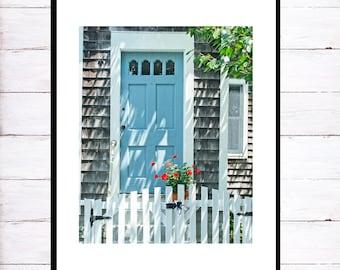 Summer Cottage Door Photography, Coastal Home Decor Print, Cape Cod Photo, Seaside Wall Art, Beach Home Art, Coastal Wall Art