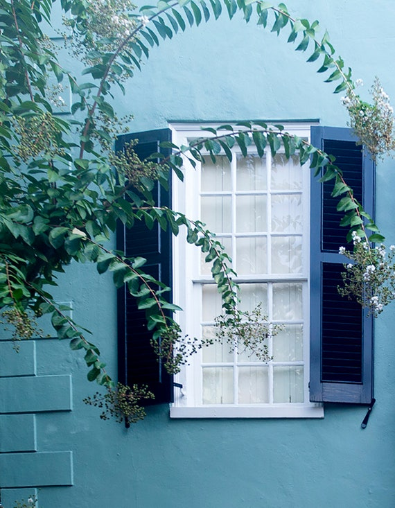 Charleston Window Photo, Shutters Window Print, Teal Wall Art, Travel Photo, Home Decor Art, Etsy Wall Art
