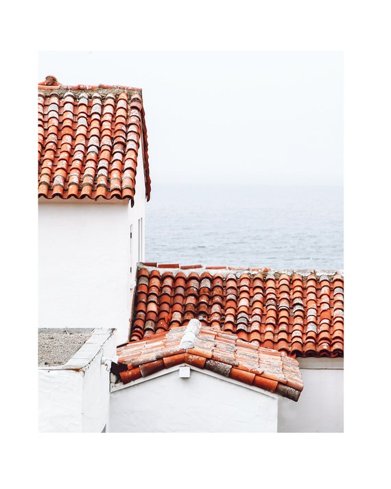 Coastal Print, Moody Photograph, Village rooftops print, Coastal Decor, Ocean photograph