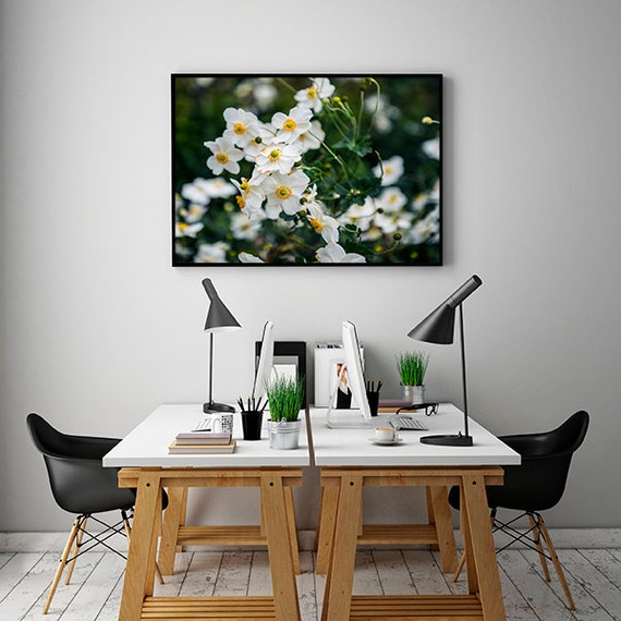 White Flowers Photography, Garden Photo, Large Wall Art, Botanical Wall Art, Floral Photography