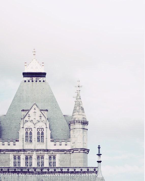 Tower Bridge London Photo, Pastel Colors Print, Nursery Art Prints, Pink Clouds Photograph, Fine Art Travel Photograph