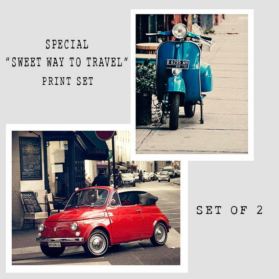 Dorm Room Art Prints, Vespa and Fiat, Vintage Colors, Print Set, Girls Room Prints, Christmas Gift Set, Paris Print, New York City Print