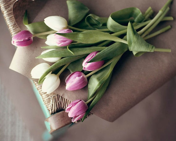 Art, Photography, Nature, Gathered Tulips, Bouquet, Photography, Fine Art print, Nature, Pink, White, Green, 8x10 print