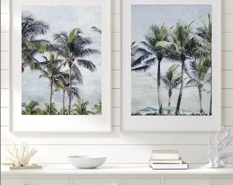 Palm Tree Print Set, Set of two palm tree photographs, Coastal Home Decor, Beach art, Cindy Taylor Print, Retro Wall Decor