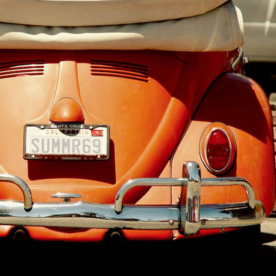 California Print, Vintage VW Photo, Beach Photography, Coastal Wall Art, Volkswagon Print, Beach House Wall Art