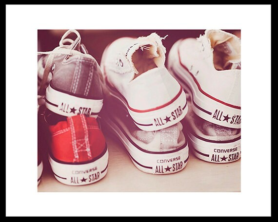 Art, Photography, Converse, Dorm Room Art, Children's Room Prints, Summer Cottage Decor, Tennis Shoes