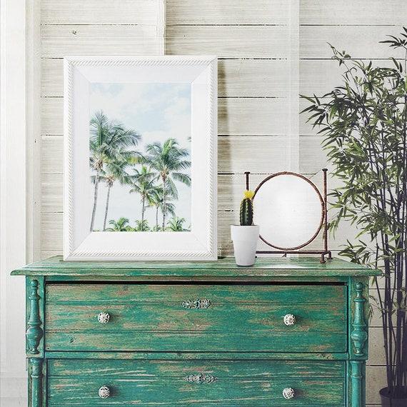 Palm Trees Print, Tropical Beach Print, Coastal Home Decor, Nautical Print, Cottage Decor, Sky and Palm Trees Print