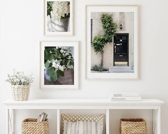Set of Three Neutral Decor Prints, Doors and Flower Photos, Summer Print Set, Home Decor Photo Set, Modern Botanical Images Photo Set