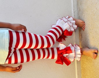 red white stripe christmas leggings with large triple ruffles and large bows girls leggings