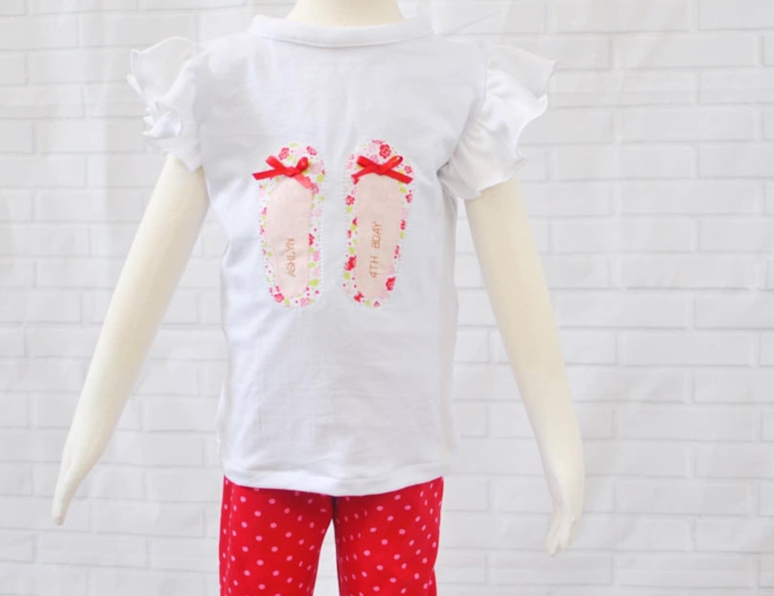 personalized ballet flat shoe appliqué top for girls ---0m-5t