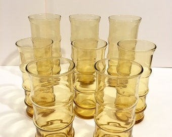 00b2b812929e Amber drinking glasses in bamboo cane shape, set of 8 various sizes