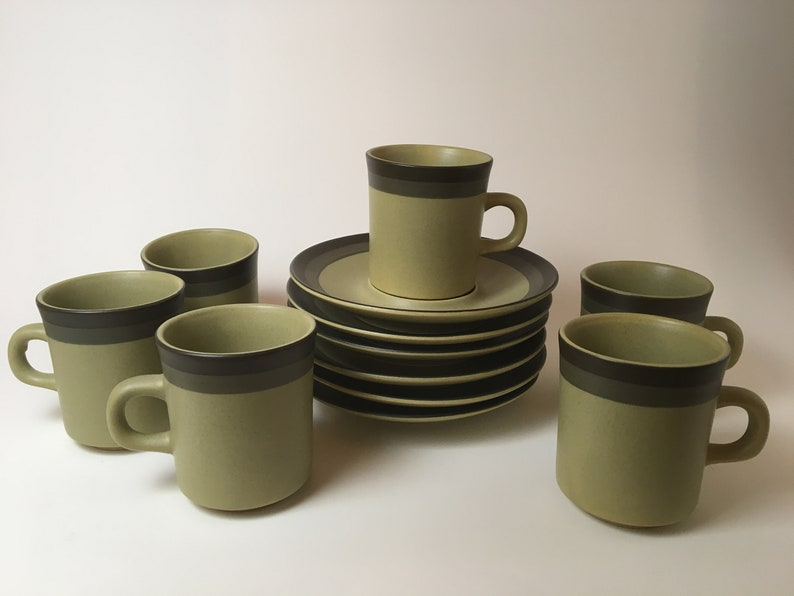 Arrow Stone Green Coffee Cups and Saucers set of 6 image 0
