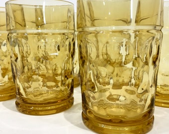 Amber/Honey Gold Tumblers with Dot Texture, set of 7