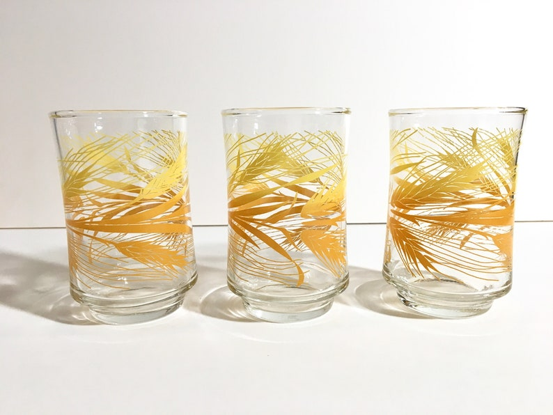 Orange and Yellow Wheat Pattern juice glasses set of 3 image 0