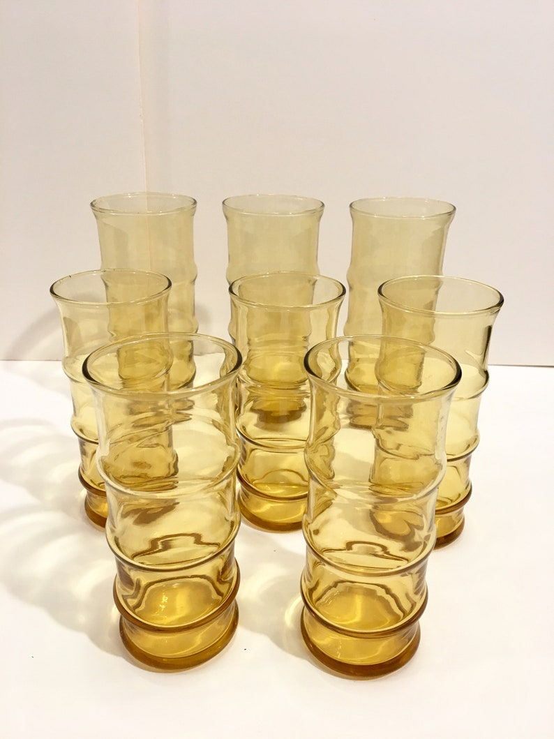 Amber drinking glasses in bamboo cane shape set of 8 various image 0