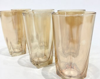 Marigold Carnival Glass Highballs with Square Base, set of 6