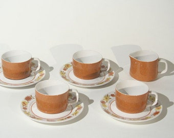 Mikasa Mediterrania Judy Sue Cups and Saucers with Creamer, Service for 4