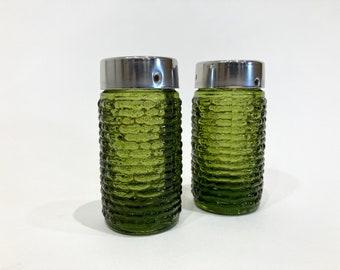Green Soreno Glass Salt and Pepper Shakers