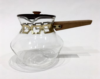 Glass Coffee Pot with Wooden Handle