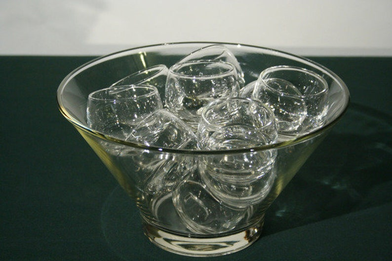 Glass Punch Bowl Set with 12 Roly-Poly Glasses image 0